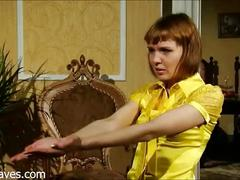 A beautiful russian redhead with small tits being spanked and fucked
