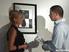 Busty blonde fucked in an art gallery
