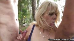 Hot 3some with a blond granny eager to fuck