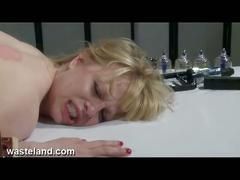 bdsm, blonde, brunette, lesbian, masturbation, toys, machine fucking, masturbating, slave, toying pussy