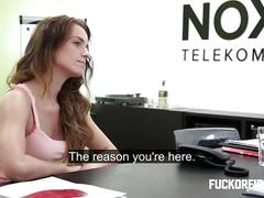 amateur, brunette, creampie, hardcore, voyeur, office sex,