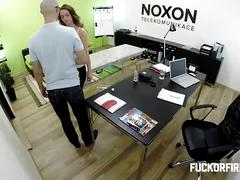 Anastasia agrees to fuck in the office for the job