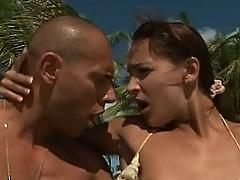 Anal beach 3some