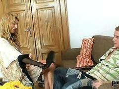 Vanesa gets fucked through pantyhose by nylons lover