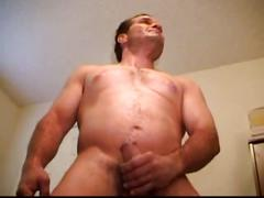 Newbie dad mark strips to wank wildly