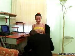 Horny teenage chick screwing her old teacher