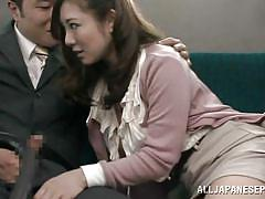 Attractive japanese playing dirty in public