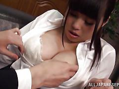 Busty asian fucking at work