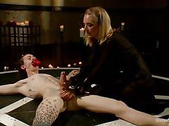 milf, blonde, mistress, cock torture, tied on floor, ritual, divine bitches, kink, owen gray, mona wales