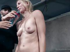 blonde, babe, torture, mistress, master, dungeon, tied up, weights, electro bdsm, real time bondage, riley reyes