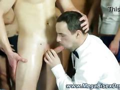 Bi group cumshot on blonde