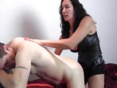 Domne chick treats boy like whore and strapon fucks him