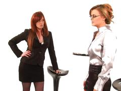 Lesbian boss gets rough