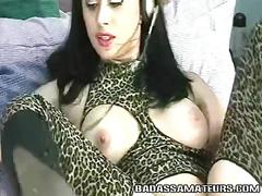 Amateur babe in bodystockings stuffing her ass with huge toy
