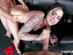 Tattooed rock chick karmen karma rough threesome