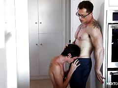 Twink deepthroats my hard cock in the kitchen