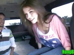 Cute young brunette shows her titties on the hump bus