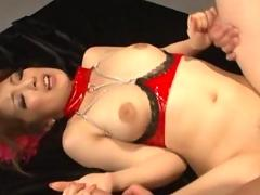 Double penetration and creampie for asian cutie