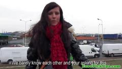 European girl next door flashes her boobs for cash