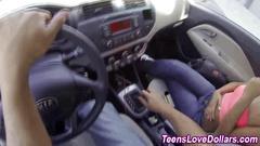 Pov teen sucks a firm cock in the car