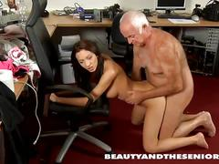Teen with big tits has dirty fun with a senior