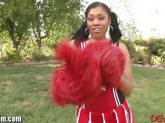 Ebony cheerleader yasmine banged by a white guy