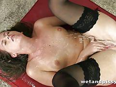 small tits, pissing, babe, solo, slim, masturbation, fetish, sex toy, brown hair, black stockings, wet and pissy, puffy network, naty lee