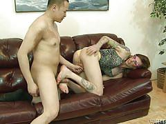 milf, tattoo, shemale, rimjob, couch, brunette, transsexual, feet fetish, transsexual roadtrip, fame digital, chelsea marie, eric jover