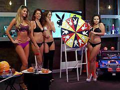 blonde, bikini, games, playboy, babes, brunette, spinning wheel, morning show, morning show, playboy tv, ali rose
