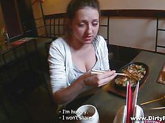 young, russian, blowjob, restaurant, brunette, from behind, pov, public place, restroom, spy glasses, fucking glasses, inna xx