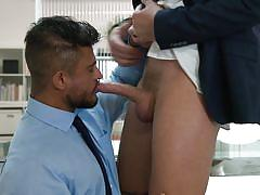 muscle, big cock, blowjob, office, anal, suit, ass licking, voyeur, watching, tattoos, the gay office, men.com, theo ford, diego lauzen