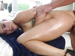 Brunette asian giving massage and getting fucked.