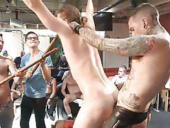 Gay slave gets gangbanged