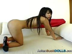 Asian slut sucks some cock and then gets fucked
