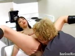 Horny wife getting her pussy drilled with big cock