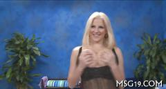 Blonde babe massages dick with her hot soft sensual lips