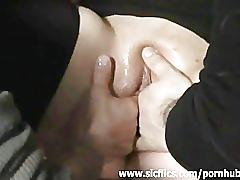 Amateur slut fist fucked in a public bar