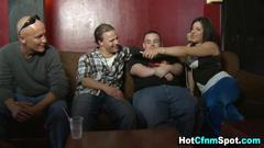 Babe sucks a fat loser at the gathering