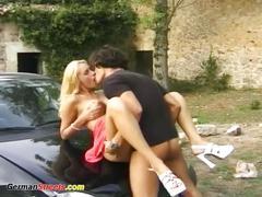 Busty babe fucked on german street