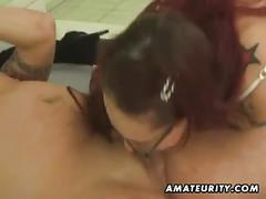 Amateur ffm threesome with lesbian and cumshot