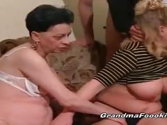 Three horny matures suck cock and get pounded
