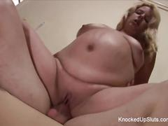 Slutty and knocked up blonde fucks on the couch