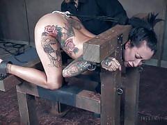 anal, bondage, bdsm, big tits, babe, vibrator, fingering, tattooed, anal hook, device bondage, infernal restraints, lily lane
