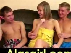 1 blonde girl and 2 guys fucking her part-1