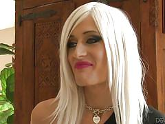 milf, blonde, blowjob, tranny, couch, miniskirt, tranny pros, fame digital, mia davina