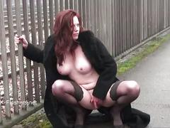 redhead, masturbating, public, kiss, voyeur, outdoors, naughty, flashing, holly, exhibitionist, housewifes