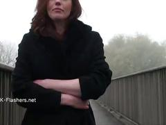 Exhibitionist housewifes public flashing of naughty masturbating voyeur redhead