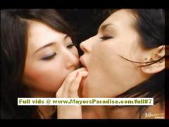 Maria and osawa asian dolls fondle each others pussies