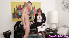 Mature domina humiliates the dude with a big pecker