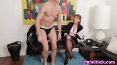 Mature domina humiliates the dude with a big pecker